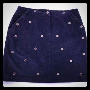 5/$20 Carson Kressley Horseshoe Navy Blue Skirt